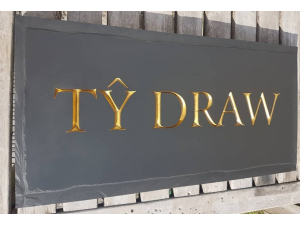 ty draw Welsh slate house sign with neo rustic edges