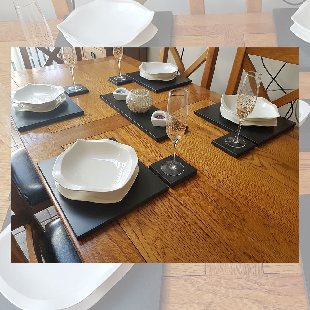 Slate Dining Set (6 Coasters, 6 Place Mats & Table Runner)