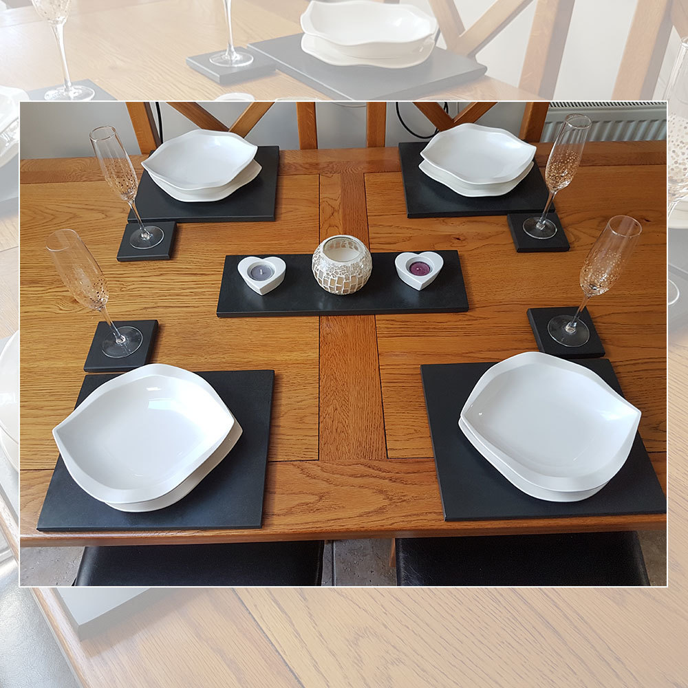 Slate Dining Set (4 Coasters, 4 Place Mats & Table Runner)